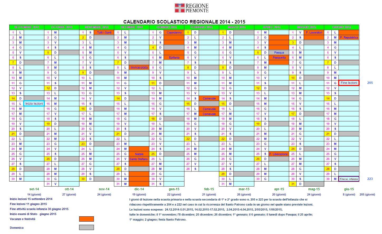 Calendario Anno 2015.Calendario Scolastico 2014 2015 Passeggiando Per Bra